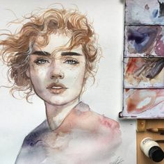 Watercolor painting by Humid Peach Humid Peach is the name of the artist whose real name is Ksenia Kondyleva. Watercolor Face, Watercolor Artwork, Watercolor Portraits, Watercolor Illustration, Watercolor Trees, Watercolor Landscape, Wow Art, Art Drawings Sketches, Portrait Art