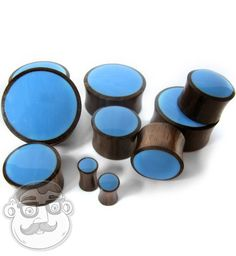 Sono Wood Plugs With Blue Resin Inlay