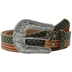 M&F Western American Flag Belt Women's Belts ($49) ❤ liked on Polyvore featuring accessories, belts, buckle belt, western leather belt, cowboy belt, leather buckle belt and cowgirl belts