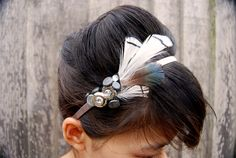 Black and white feather hairband with rhinestones, shell buttons, silver and sparkly buttons