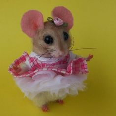 """Needle Felted Cute """"Baby Doll"""" Light Brown Mouse by Artist Robin Joy Andreae   #NeedleFeltedAnimals"""