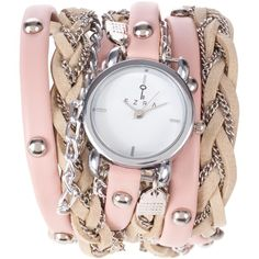 Ezra by Zalora Braided Triple Tour Wrap Watch ($15) ❤ liked on Polyvore featuring jewelry, watches, accessories, bracelets, bijoux, almond pink, half price winter, womens jewellery, pink watches and wrap watch