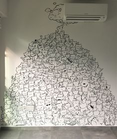 Video: Muffinsaurs' animal-inspired wall mural in a Punggol HDB BTO home - Home & Decor Singapore Crayons Pastel, Wall Murals, Wall Art, Wall Drawing, Doodle Art, My Room, Street Art, Sweet Home, Doodles