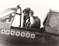 pilot Roy Whittaker, Fighter Group,in the cockpit of his fighter. April 1943 at Cape Bon (Tunisia). The seven swastikas painted on his plane mark the number of German aircraft Roy had shot down by the date of the photograph. History Jokes, Flying Ace, Fighter Pilot, North Africa, East Africa, Ww2 Aircraft, Historical Images, War Machine, Military History