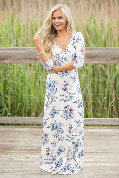 32f7284fcced Dream Away The Days Floral Maxi Dress White - The Pink Lily Girls Maxi  Dresses