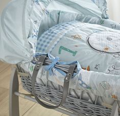 6a99590d705 Clair de Lune Blue Forty Winks Grey WIcker Moses Basket!