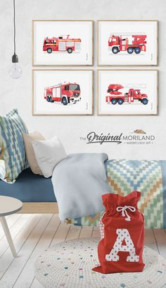 Truck Bedroom, Bedroom Décor, Kids Bedroom, Truck Nursery, Playroom Wall Decor, Boys Room Decor, Boy Room, Fireman Nursery, Fireman Room
