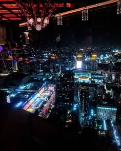 Above the city lights of Bangkok