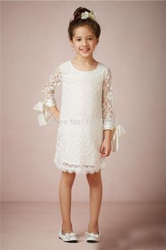 Cute Simple 3/4 Sleeve Scoop Knee Length Princess Lace Flower Girl Dresses For Weddings vestidos de comunion 2015 kommunionkleid