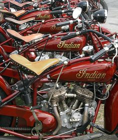 Line-up of classic Indian motorcycles