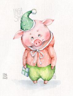 Инга Измайлова SmG pig свинка открытка