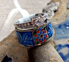 Portugal  Antique Azulejo Tile Replica Stackable Ring by Atrio, $47.00