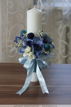 Candle Decorations, Centerpieces, Wedding Decorations, Candels, Pillar Candles, Contemporary Flower Arrangements, Baptism Candle, Event Decor, Christening