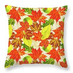 """Fall Leaves Pattern Throw Pillow by Christina Rollo.  Our throw pillows are made from 100% spun polyester poplin fabric and add a stylish statement to any room.  Pillows are available in sizes from 14"""" x 14"""" up to 26"""" x 26"""".  Each pillow is printed on both sides (same image) and includes a concealed zipper and removable insert (if selected) for easy cleaning."""