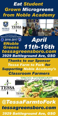 Noble Academy Student Grown Greens at Tessa Farmto Fork April 11th-16th in Greensboro, NC