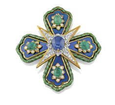"Sapphire, emerald, émail and diamond ""Maltese cross"" brooch, by David Webb"
