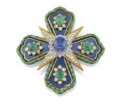 "Sapphire, emerald, émail and diamond ""Maltese cross"" brooch, by David Webb"