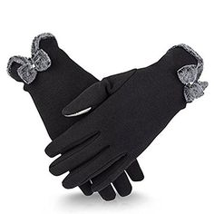 Gomywell Women Winter Gloves Touch Screen Windproof Mittens Fleece Warm Gloves Black ** Click on the image for additional details. (This is an affiliate link)