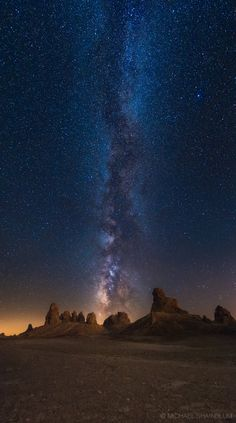 """Michael Shainblum Photography/Film/Timelapse Liked · December 4  -    """"Beam Me Up""""  -      A vertical panorama of the galaxy taken at Trona Pinnacles."""
