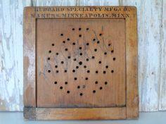 Vintage Wooden Advertising Sign, Antique Store Display, Wood Peg Board