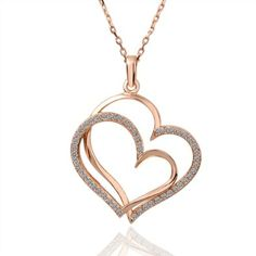 18k Rose Gold Plated Silver Heart & Gemstone Necklace