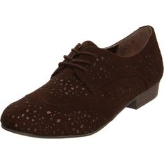 Not Rated Fascination Wingtip Oxfords Shoes Brown Womens ($15) ❤ liked on Polyvore featuring shoes, oxfords, oxford shoes, low heel shoes, cutout oxford shoes, not rated shoes and brown wingtip shoes
