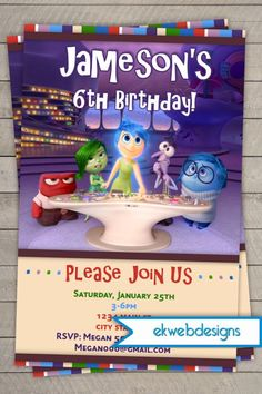 Disney's Inside Out Birthday Invitations- Disney's Pixar's Inside Out