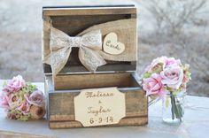 burlap and lace card box, rustic wedding card box, burlap wedding decor, barn reception decor by RedHeartCreations on Etsy https://www.etsy.com/listing/180343058/burlap-and-lace-card-box-rustic-wedding