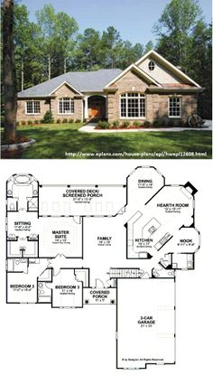Eplans Colonial House Plan - Classic Ranch with Up-to-Date Floor Plan - 2461 Square Feet and 3 Bedrooms from Eplans - House Plan Code HWEPL12608 (Cost to Build: 200k-285k)