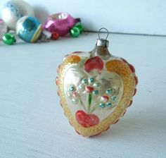 vintage christmas ornaments | Vintage Christmas Heart and Flowers Ornament by PeppermintBark. , via ...