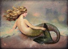"""Christian Schloe, """"Her Ocean"""".  I like that she's holding her fin."""