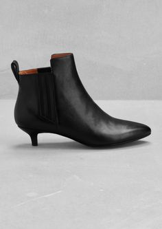 & Other Stories image 1 of Leather kitten heel ankle boots in Black Kitten Heel Ankle Boots, Low Heel Ankle Boots, Black Ankle Boots, Low Heels, Knee High Boots, Pumps Heels, Bootie Boots, Shoe Boots, Kitten Heels Outfit