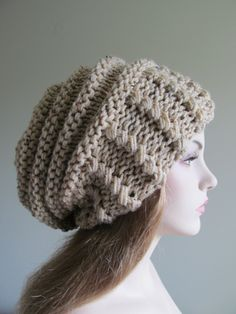 2fdca6f3659 SALE - Slouchy Beanie Slouch Hats Oversized Baggy Beret womens fall winter  accessory Beige Super Chunky Hand Made Knit