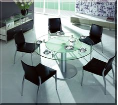 Modrest CT50 Modern Round Glass  Dining Table VGBNCT50Product : 13002Features:  Frosted glass in the middleSatin polished baseThick glass table topDimensions:Dining Table : W48