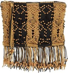 Channeling a boho-chic vibe, this handmade, fringe-trimmed clutch features a striking two-tone macrame design woven with wooded beads throughout. Johnson And Johnson, Ulla Johnson, Clutches For Women, Macrame Design, Beaded Top, Tribal Fashion, Bead Weaving, Clutch Bag, Boho Chic