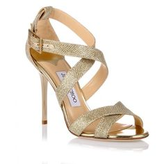 Jimmy Choo Lottie gold glitter fabric sandal featuring polyvore, women's fashion, shoes, sandals, gold, jimmy choo sandals, gold sandals, gold glitter shoes, glitter shoes and gold high heel sandals