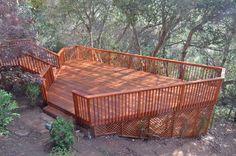 Redwood deck los altos hills, deck design, hillside decks 94022 and 94041 Garden Arch Trellis, Lattice Garden, Sloped Yard, Sloped Backyard, Hillside Deck, Landscaping On A Hill, Raised Deck, House Deck, Outside Living