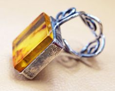 Butterscotch BALTIC AMBER RING sterling silver ring by ANTIQUE4YOU