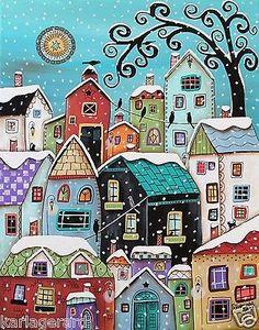 Winter City CANVAS PAINTING Houses Birds Cats 16x20inch FOLK ART Karla Gerard