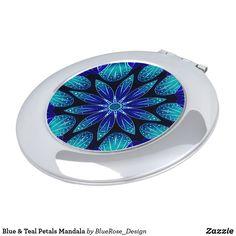 Blue & Teal Petals Mandala Compact Mirror Compact Mirror, Christmas Card Holders, Teal, Blue, Heart Shapes, Keep It Cleaner, Mirrors, Vibrant Colors, Mandala