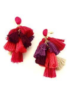 Mini Flamenco Earrings- Red