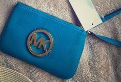 Michael Kors Fulton Leather Wristlet/Clutch - Turquoise Blue NWT #MichaelKors…