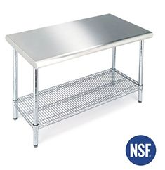 https://smile.amazon.com/Seville-Classics-Commercial-Stainless-Worktable/dp/B0007LQH86/  Stainless steel. 49x24  Seville Classics Commercial NSF Stainless Steel Top Worktable