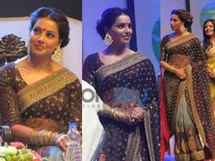 The black colored net saree had hues of sky blue color on the bottom. The bottom featured golden prints on it and also had a heavy golden embroidery on the borders. The black and blue coloured saree had golden sequin work on the pallu which added a glittering effect. The sheer net pallu was carried in the floating style which flaunted the golden sequin work and heavy golden embroidery on it. The blouse also featured heavy sequin work and embellishments in golden patchwork.