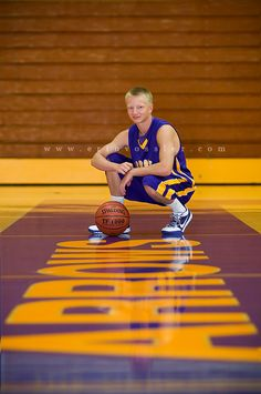Poses: Kneeling with basketball.  (Floor is just refinished. Great depth, but photo will feel small even as an 8x10.)