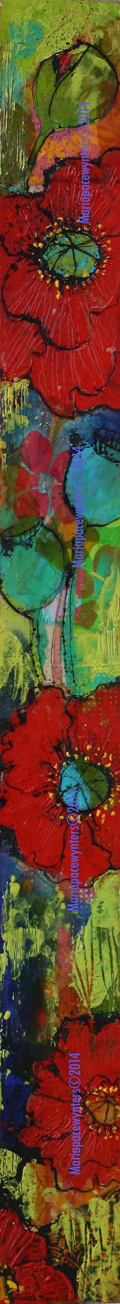 Summer Garden Slice- Original mixed media painting by Maria Pace-Wynters