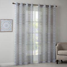 Madison Park 84-Inch Darlene Geo Burnout Sheer Window Curtain Panel