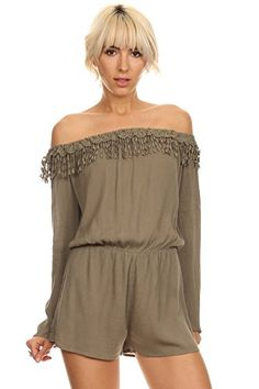 3c16cd99881 Amazon.com  MeshMe Womens Ari - Off the Shoulder Fringe Romper  Clothing