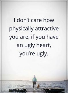 beauty quotes I don't care how physically attractive you are, if you have an ugly heart, you're ugly.