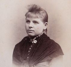 A young Victorian woman with rather unusually styled bangs. Has anyone encountered this hairstyle in photos of the era before? #Victorian #portraits